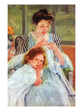 Young Mother Sewing Print by Mary Cassatt