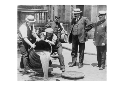Pouring Out Illegal Alcohol into a Sewer Prints
