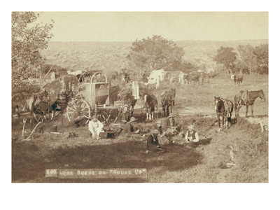 """Mess Scene on """"Round Up"""" Prints by John C.H. Grabill"""