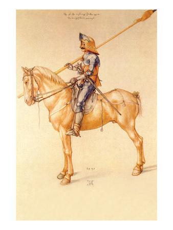 Rider in the Armor Print by Albrecht Dürer
