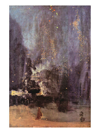 Nocturne in Black and Gold, the Falling Rocket Art by James Abbott McNeill Whistler