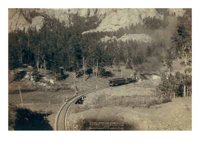 """Horse Shoe Curve."" on Burlington and Missouri River Railway. Buckhorn Mountains in Background Art by John C.H. Grabill"