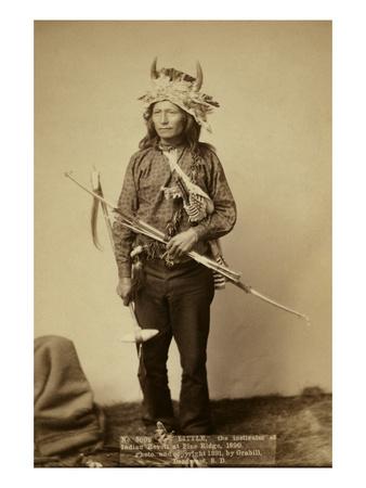 Little, the Instigator of Indian Revolt at Pine Ridge, 1890 Art by John C.H. Grabill