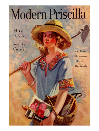 Young Grils Has a Hoe and a Gardening Basket Prints by  Modern Priscilla