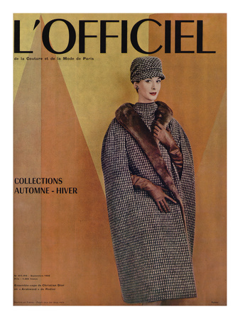 L'Officiel, September 1956 - Ensemble-Cape de Christian Dior en Arakweed de Rodier Prints by Philippe Pottier