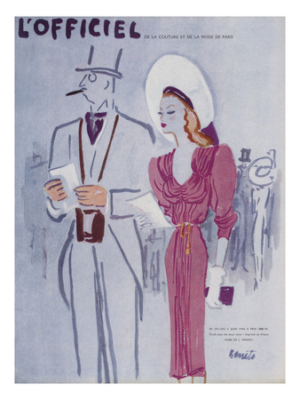 L'Officiel, June 1946 - Robe de L. Mendel Posters by  Benito