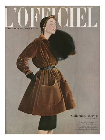 L'Officiel, September 1950 - Ensemble de Christian Dior en Velours de Marcel Guillemin Prints by Philippe Pottier