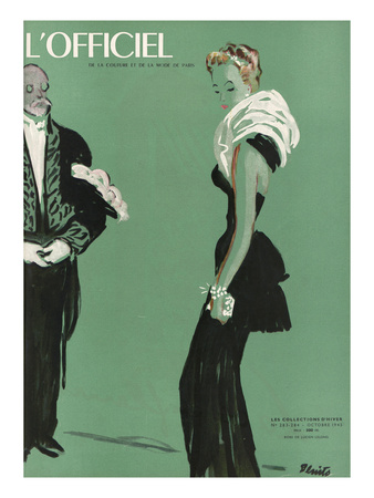 L'Officiel, October 1945 - Robe de Lucien Lelong Print by  Benito