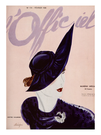 L'Officiel, February 1936 - Marthe Valmont Poster by  Lbenigni