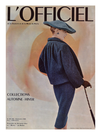 L'Officiel, September 1955 - Ensemble de Christian Dior en Musky de Rodier Prints by Philippe Pottier