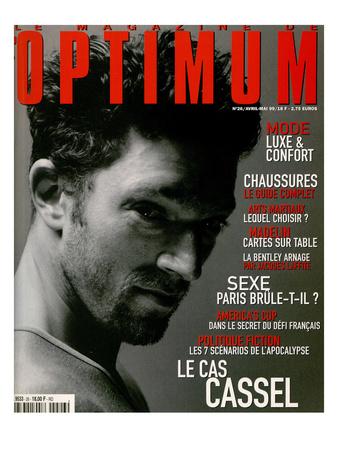 L'Optimum, April-May 1999 - Vincent Cassel Porte un Tee-Shirt Col V en Coton Chiné Calvin Klein Prints by Antonio Spinoza
