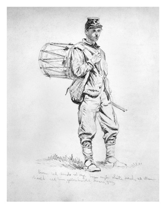 Civil War: Drummer, 1863 Premium Giclee Print by Edwin Forbes