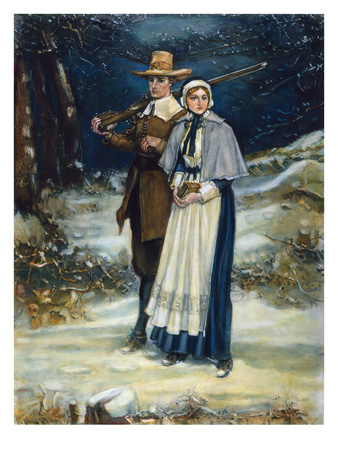 Puritans Going to Church Premium Giclee Print by George Henry Boughton