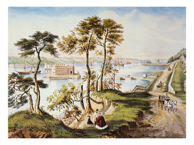 Staten Island and Narrows Premium Giclee Print by  Currier & Ives
