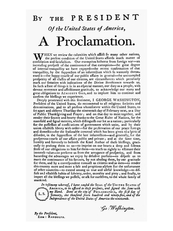 Thanksgiving Proclamation, George Washington, Giclee Print