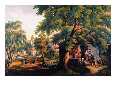 The Village Blacksmith Premium Giclee Print by  Currier & Ives