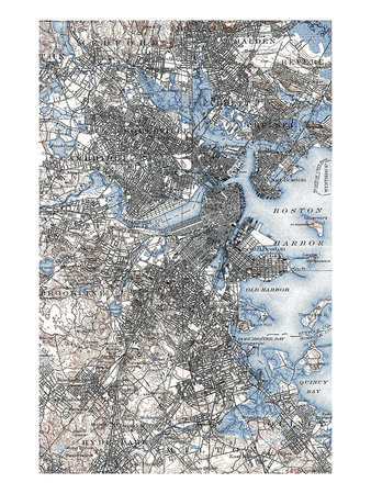 Boston Map, 1903 Giclee Print