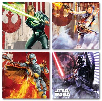 Star Wars Luke Skywalker, Han Solo, Boba Fett, Anakin Skywalker Darth Vader coaster set of awesome artwork holiday gift gifts
