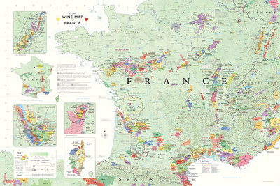 France Wine Map Poster Prints