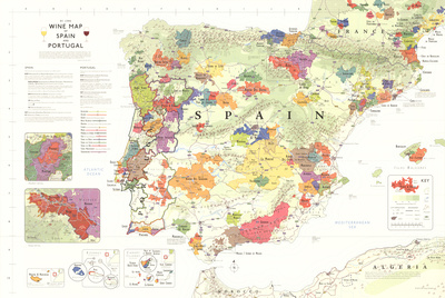 Iberia Wine Map (Spain & Portugal) Poster Poster