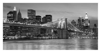le pont de brooklyn de nuit new york affiches sur. Black Bedroom Furniture Sets. Home Design Ideas