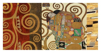 The Embrace (gold montage) Posters by Gustav Klimt