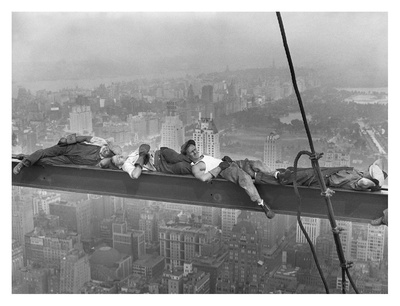 Construction Workers Resting on Steel Beam Above Manhattan, 1932 Print