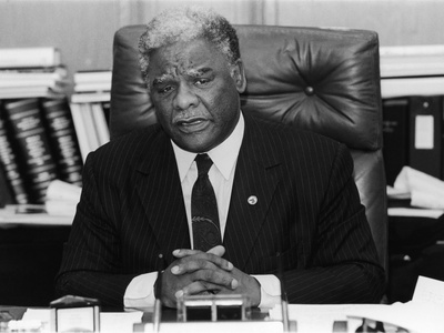 Harold Washington, During an Office Interview, 1987 Photographic Print by Vandell Cobb