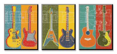 Zes gitaren op rij, Gitaarheld Affiches van Mj Lew