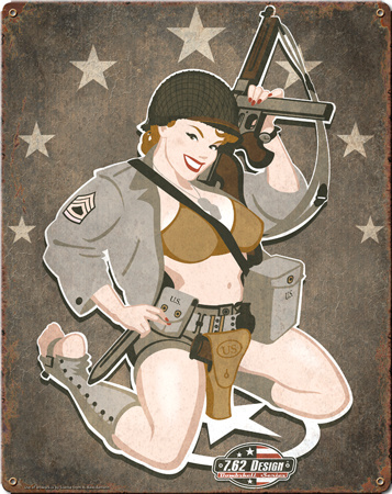 D-Day Diva Pin Up Girl Steel Sign Wall Sign
