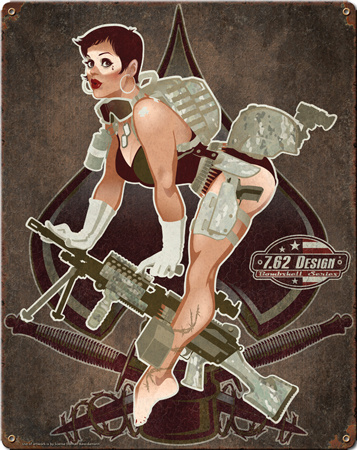 Aces High Pin Up Girl Steel Sign Wall Sign