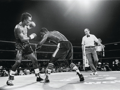"""Sugar Ray Leonard, """"Comeback Fight"""" Against Kevin Howard, May 11, 1984 Photographic Print by Vandell Cobb"""