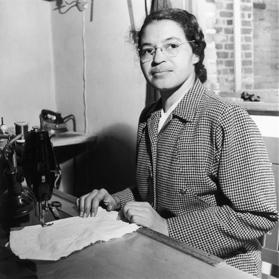 Rosa Parks, also a Seamstress, at Her Sewing Machine Photographic Print by Rosa Parks