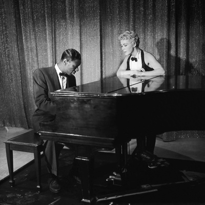 Entertainer Nat King Cole and His Guest Star Betty Hutton, the Nat King Cole Show, 1957 Photographic Print by Howard Morehead