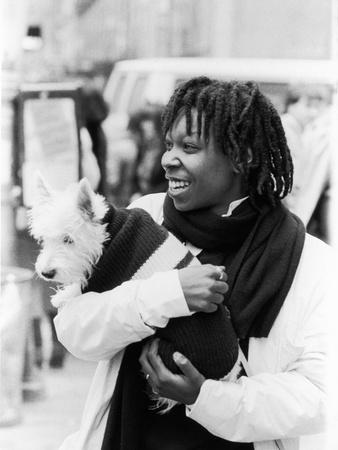 Comedian Whoopi Goldberg with Her Scottish Terrier Otis Photographic Print by Moneta Sleet