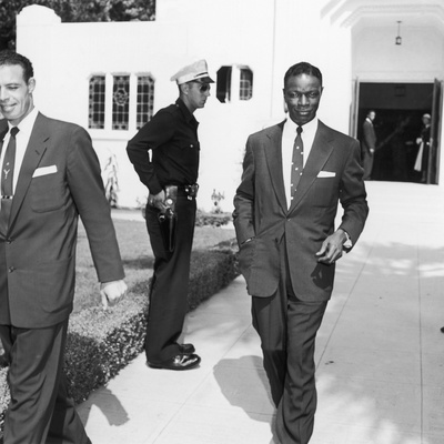 Nat King Cole Attends the Funeral of Comedian Eddie Anderson's Wife Mamie, August 1954 Photographic Print by Howard Morehead