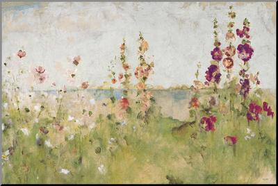 Malvarrosas junto al mar Lámina montada en tabla