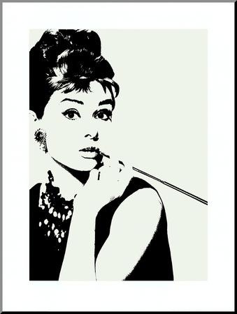 Audrey Hepburnová – Doutník Reprodukce aplikovaná na dřevěnou desku