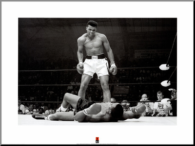 Muhammad Ali vs. Sonny Liston Lámina montada en tabla
