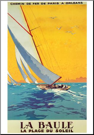 La Baule, slunečná pláž (reklamní plakát ve francouzštině) Reprodukce aplikovaná na dřevěnou desku
