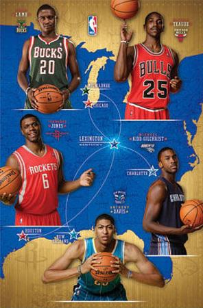NBA Rookies 2012-13 - Lamb, Teague, Kidd-Gilchrist, Davis, Jones Print