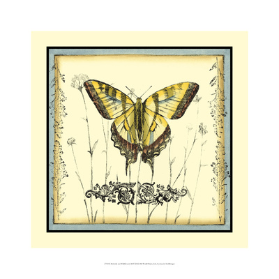 Butterfly and Wildflowers III Giclee Print by Jennifer Goldberger