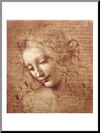 Ženská hlava (La Scapigliata), c.1508 Reprodukce aplikovaná na dřevěnou desku