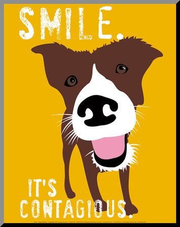 Usmívej se /Smile Reprodukce aplikovaná na dřevěnou desku