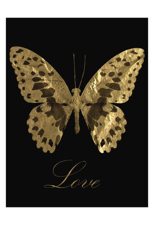 Love Gold Butterfly Posters by Taylor Greene