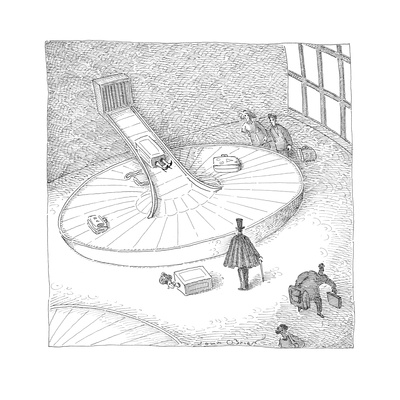 A magician waiting by a luggage conveyor belt has the first half of a woma… - Cartoon Giclee Print by John O'brien