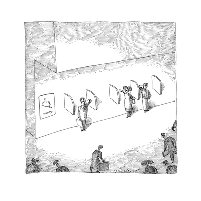 Several people standing in pseudo phone booths miming conversation with th… - Cartoon Giclee Print by John O'brien