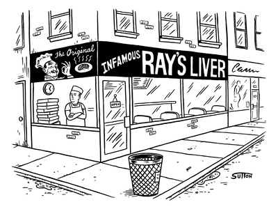 A pizza place with a huge sign and logo.  A pizza man in an apron stands i… - New Yorker Cartoon Giclee Print by Ward Sutton