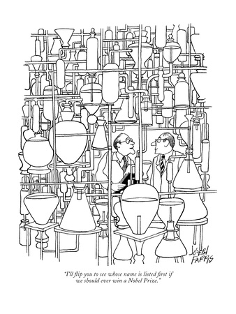 """I'll flip you to see whose name is listed first if we should ever win a N…"" - New Yorker Cartoon Giclee Print by Joseph Farris"