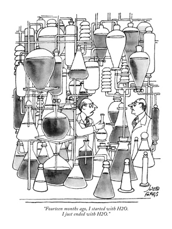 """Fourteen months ago, I started with H2O. I just ended with H2O."" - New Yorker Cartoon Giclee Print by Joseph Farris"